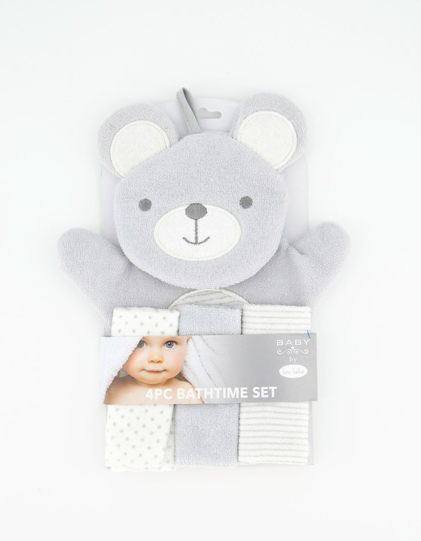 Baby Boy 4 Pc Bathtime Set, Grey/White