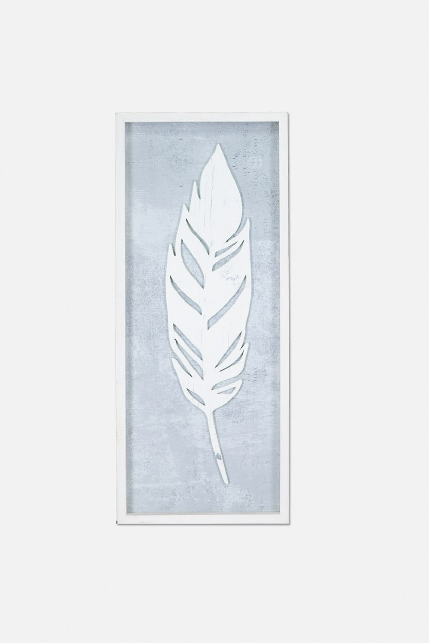 Lifted Feathers Design Wall Decor, Grey/White