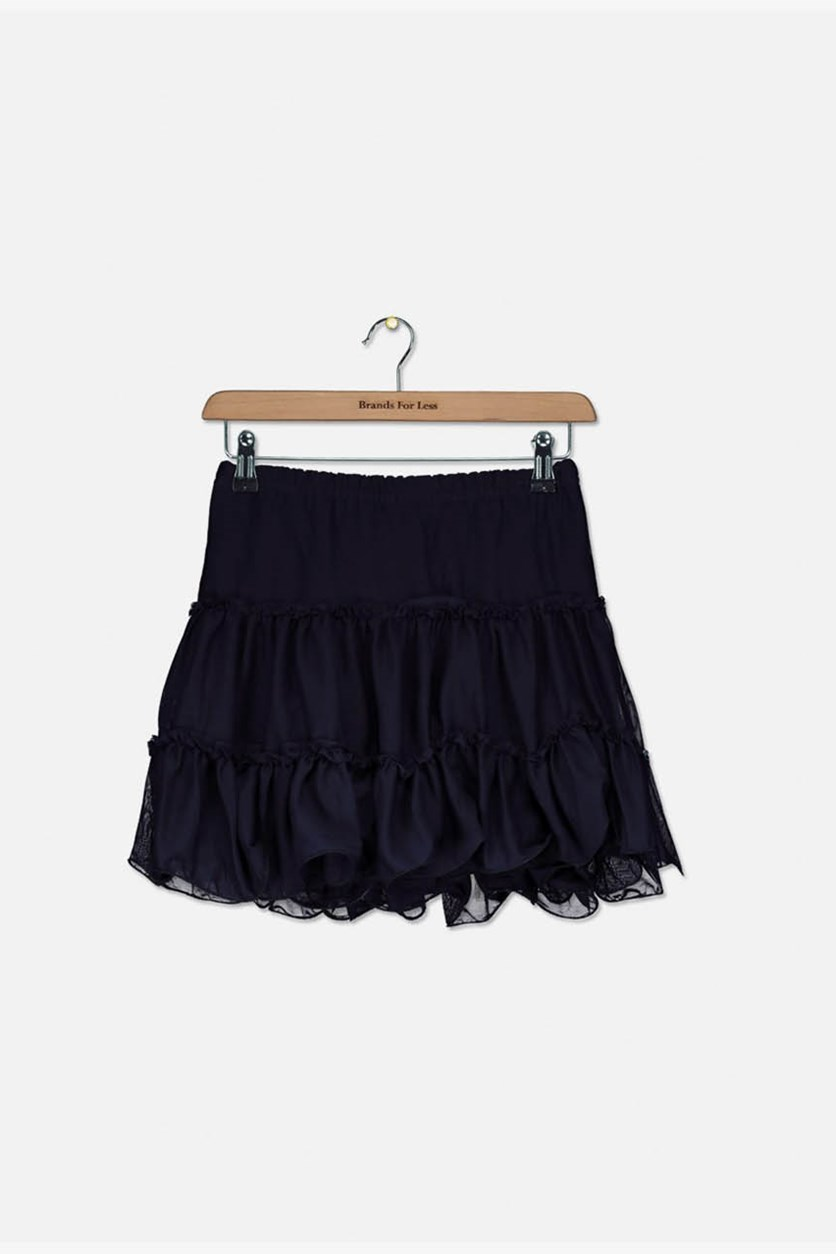 Toddler Girl's Ruffle Lace Skirt, Navy Blue