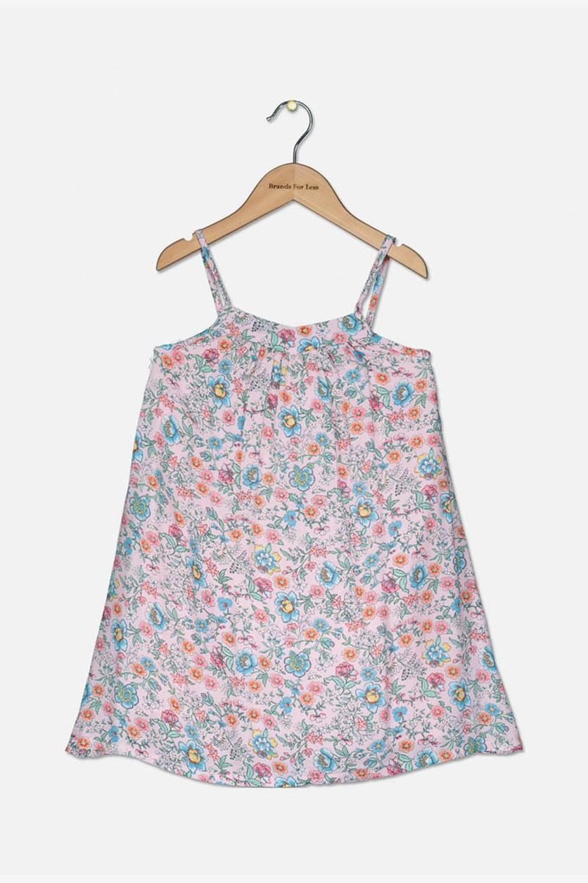 Toddler Girl's Floral Print Dress, Pink Combo