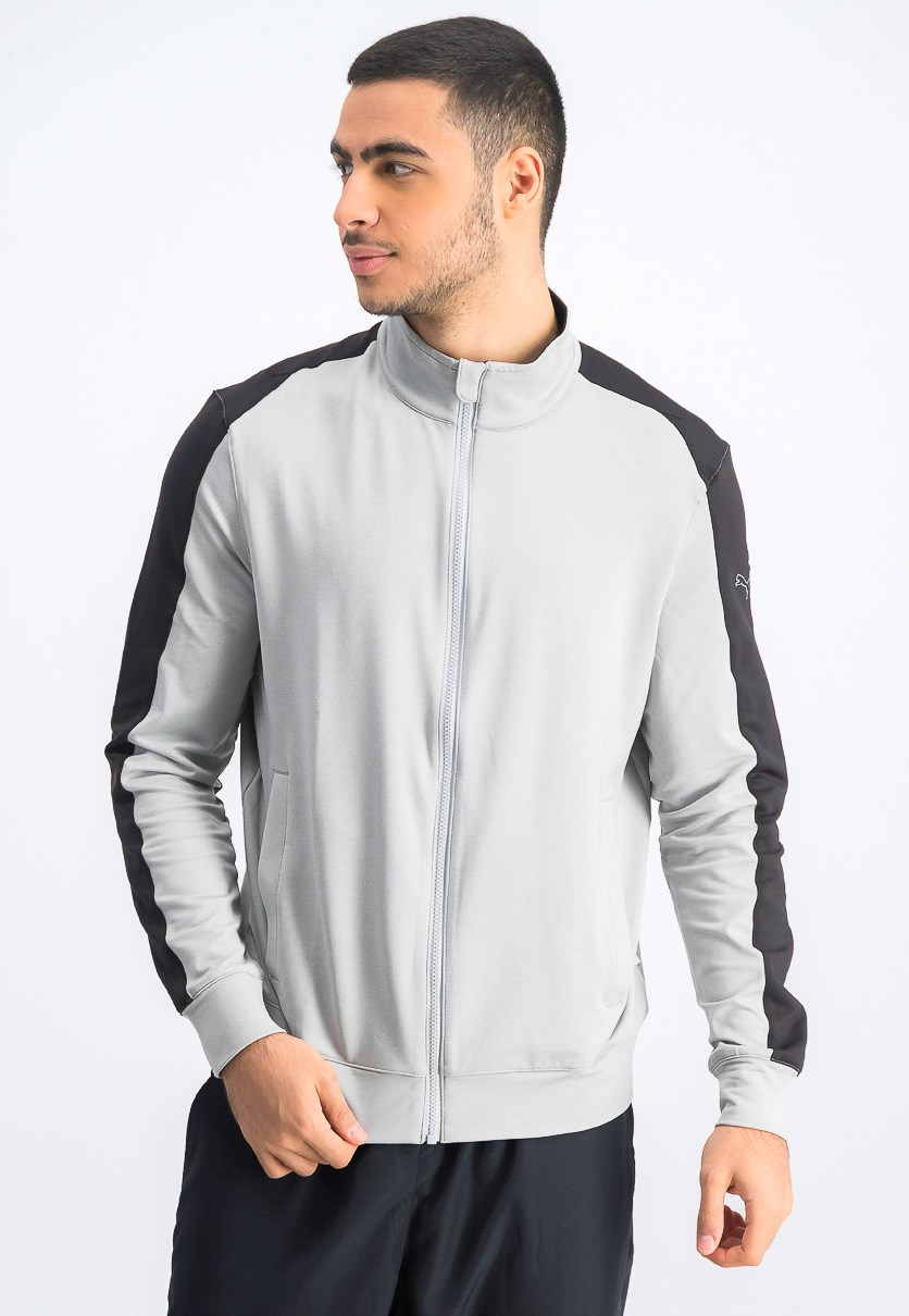 Men's Golf Track Jacket, Grey Heather/Black