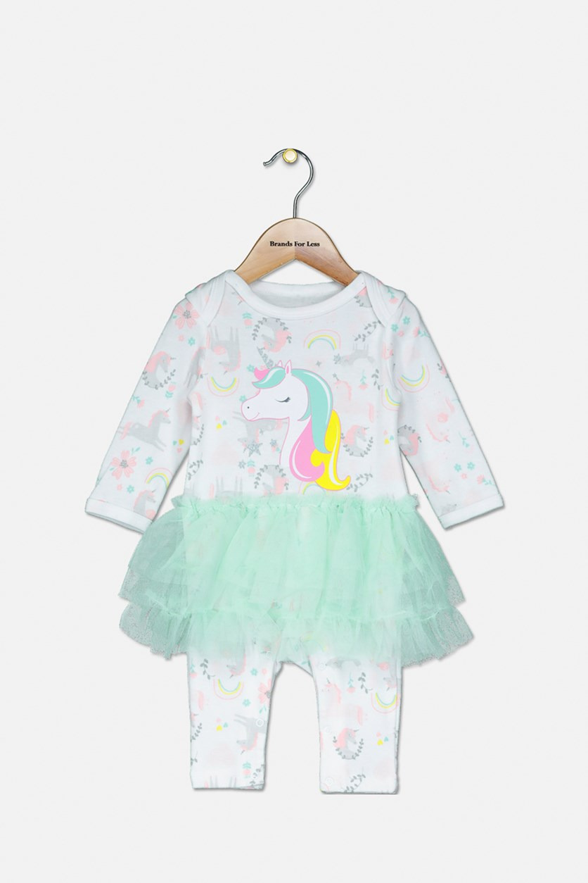 Toddler's Unicorn Printed Tutu Coverall, White/Green/Pink