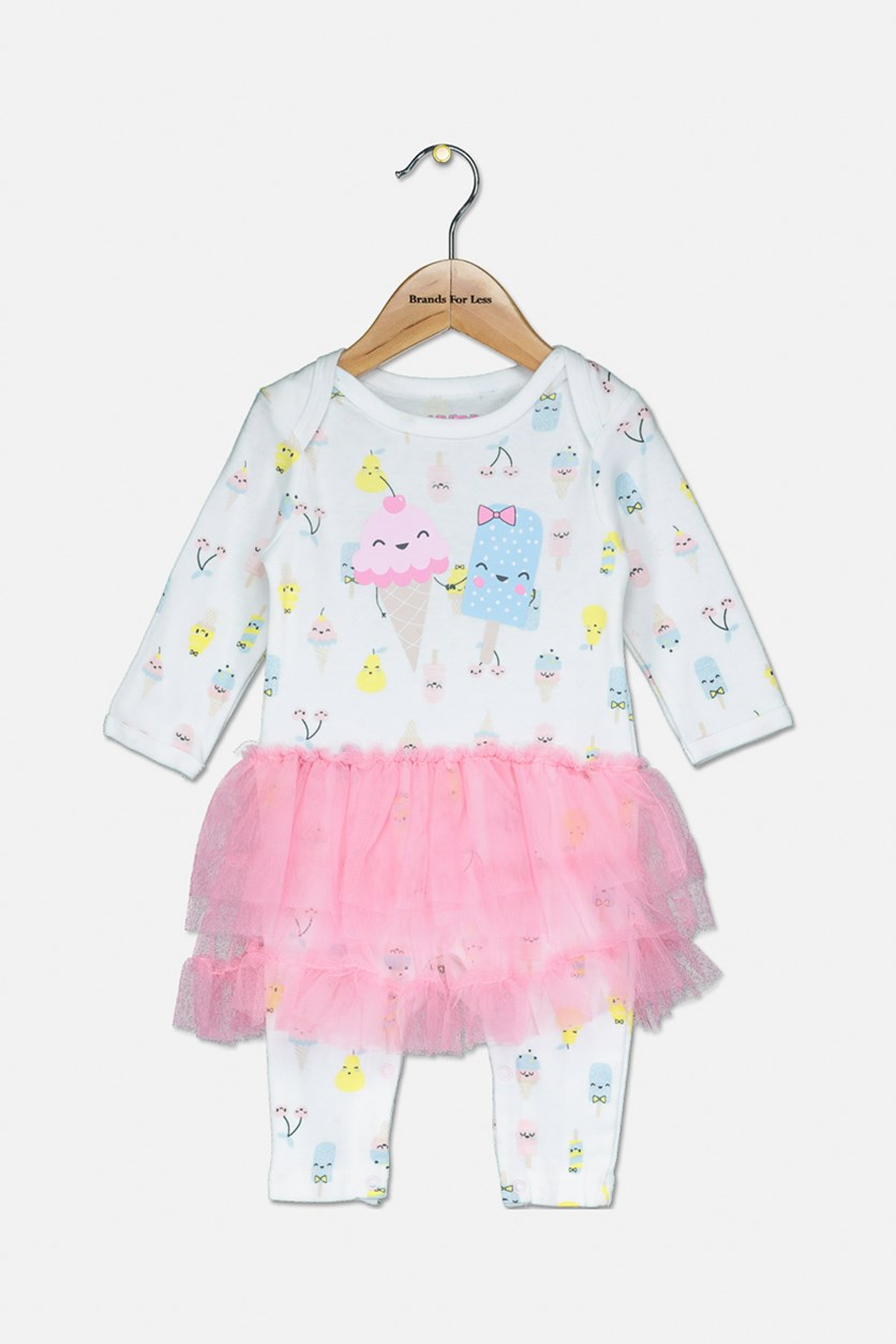 Toddler's Ice Cream Printed Jumpsuit, White Combo