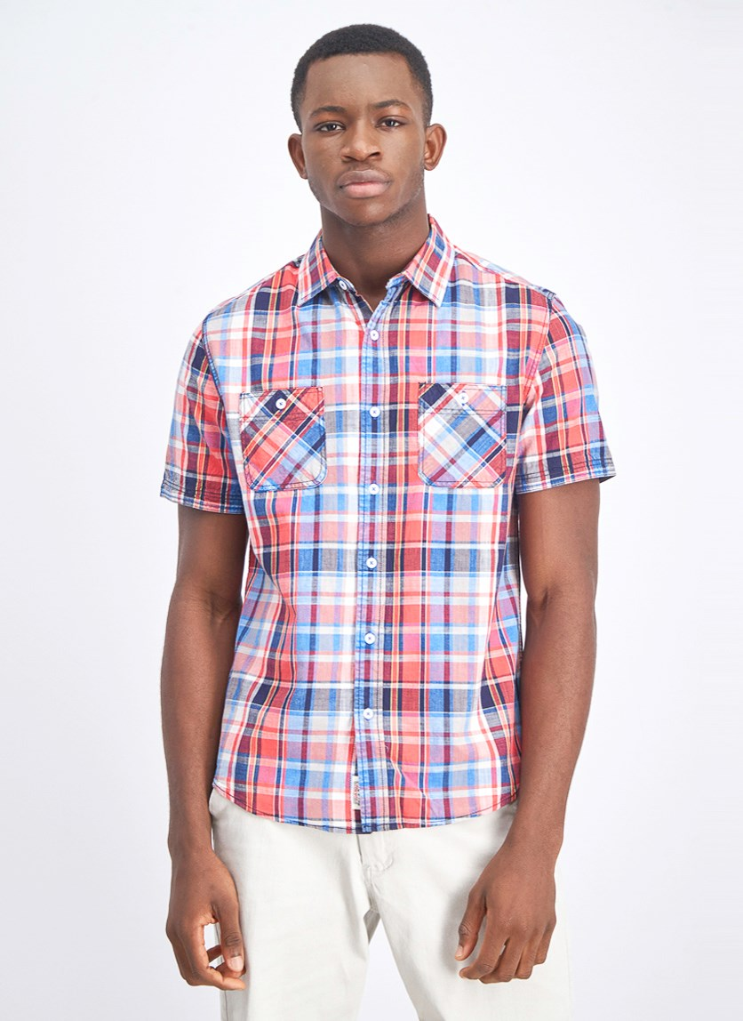 Men's Double Plaid Casual Shirt, Red Combo