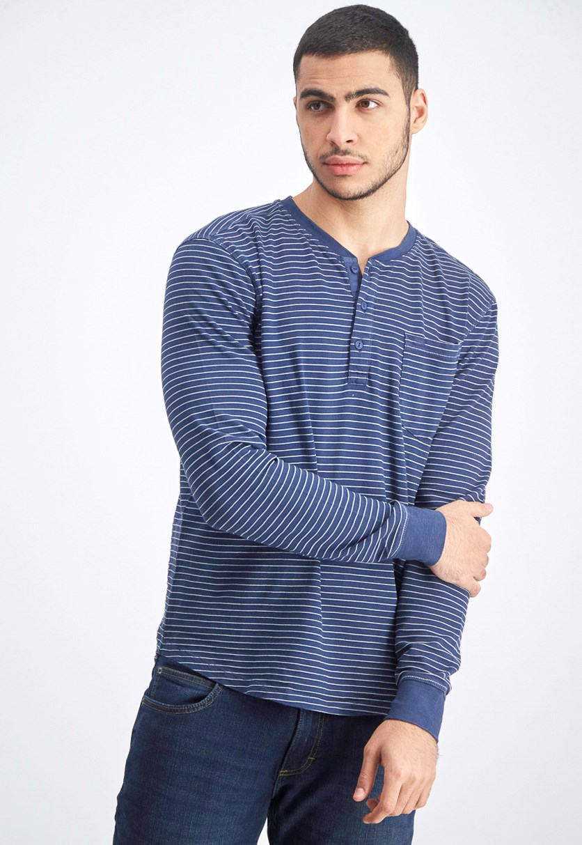 Men's Stripe Sweater, Indigo