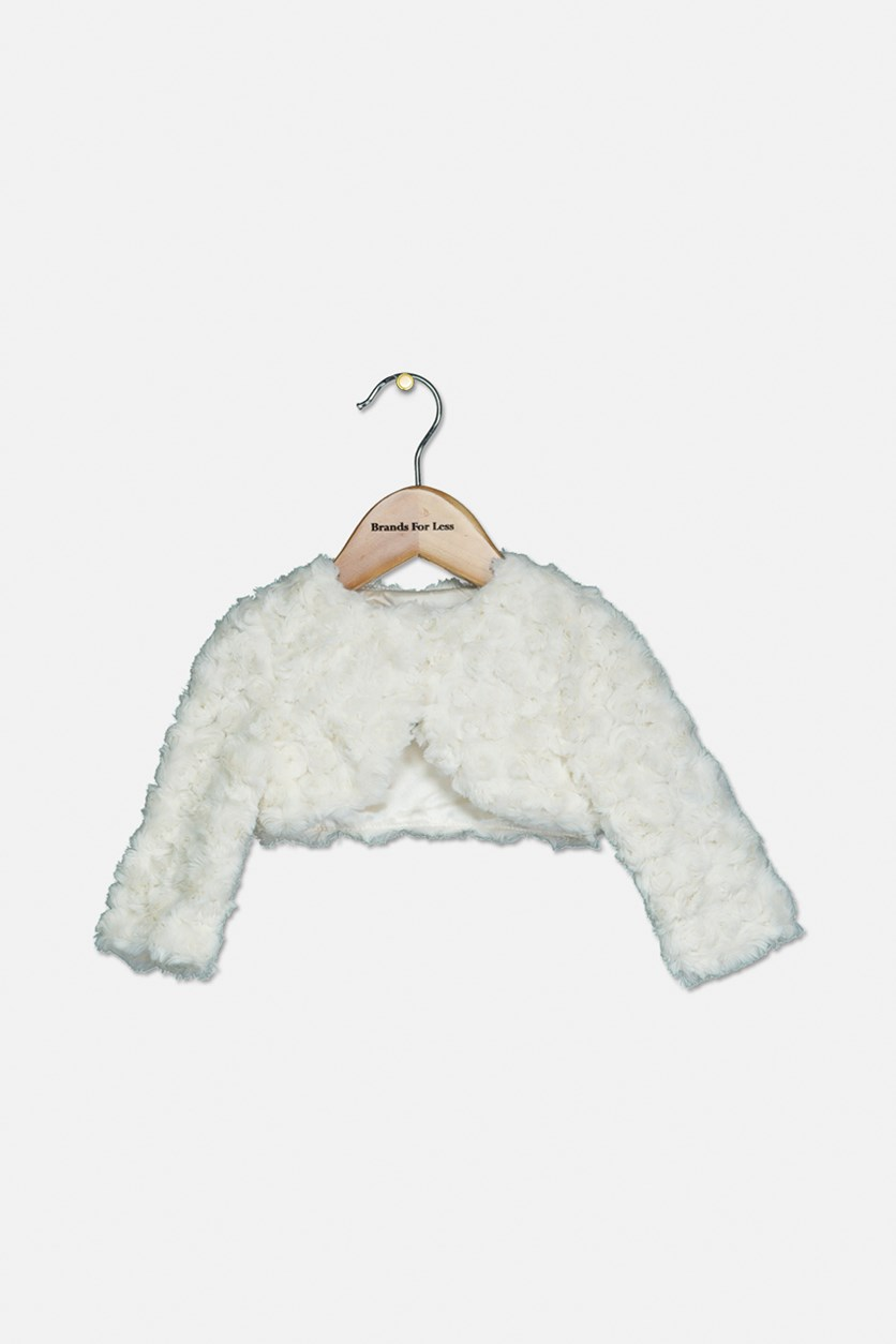 Baby Girls Faux Fur Shrug, Ivory