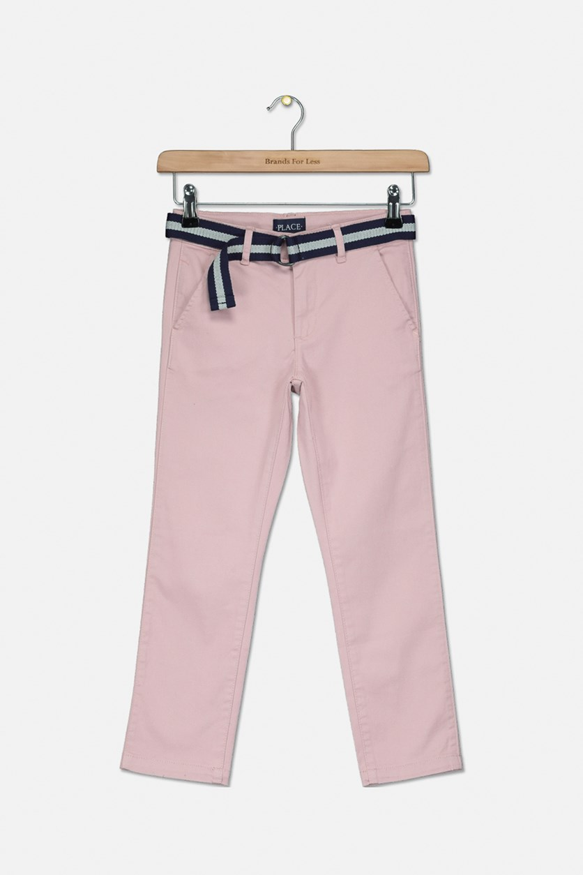 Boy's Belted Chino Pants, Mauve Pink