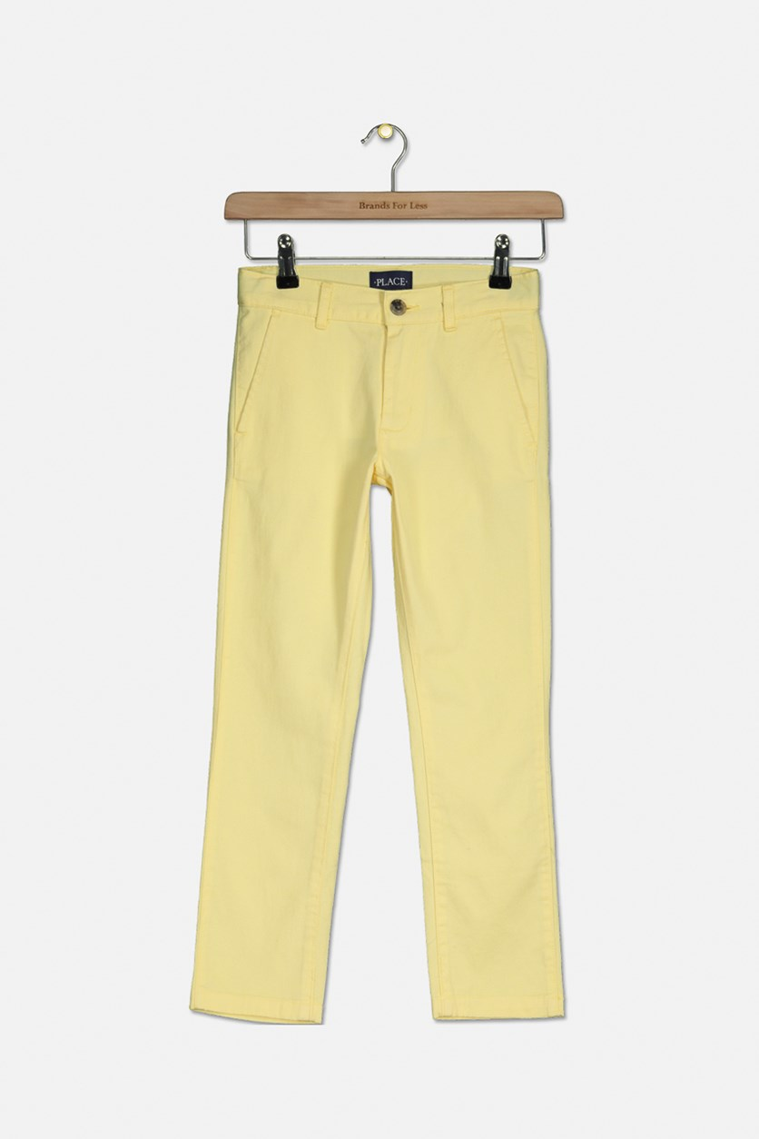 Boy's Solid Four Pocket Pants, Butter/Yellow