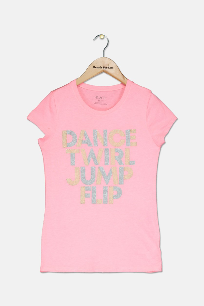 Girl's Dance Twirl Jump Flip Glitter Graphic Top, Coral Pink
