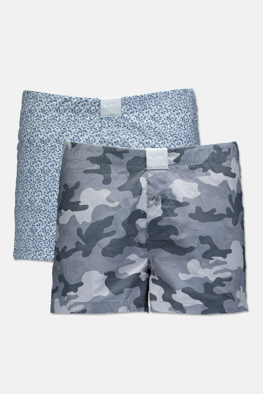 Men's Airsoft Touch 2 Pack Woven Boxers, Grey Camo