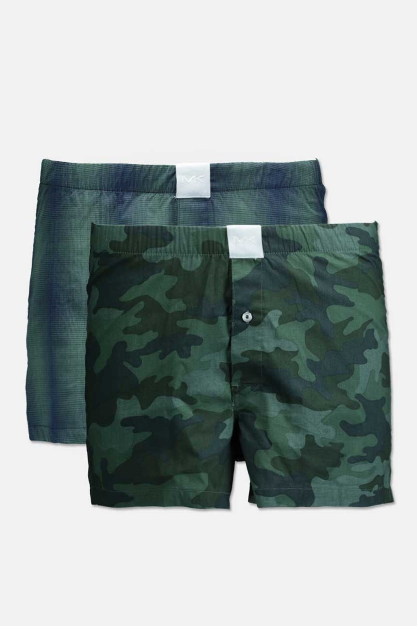 Men's Airsoft Touch Woven Boxer Set Of 2, Green Plaid/Camo