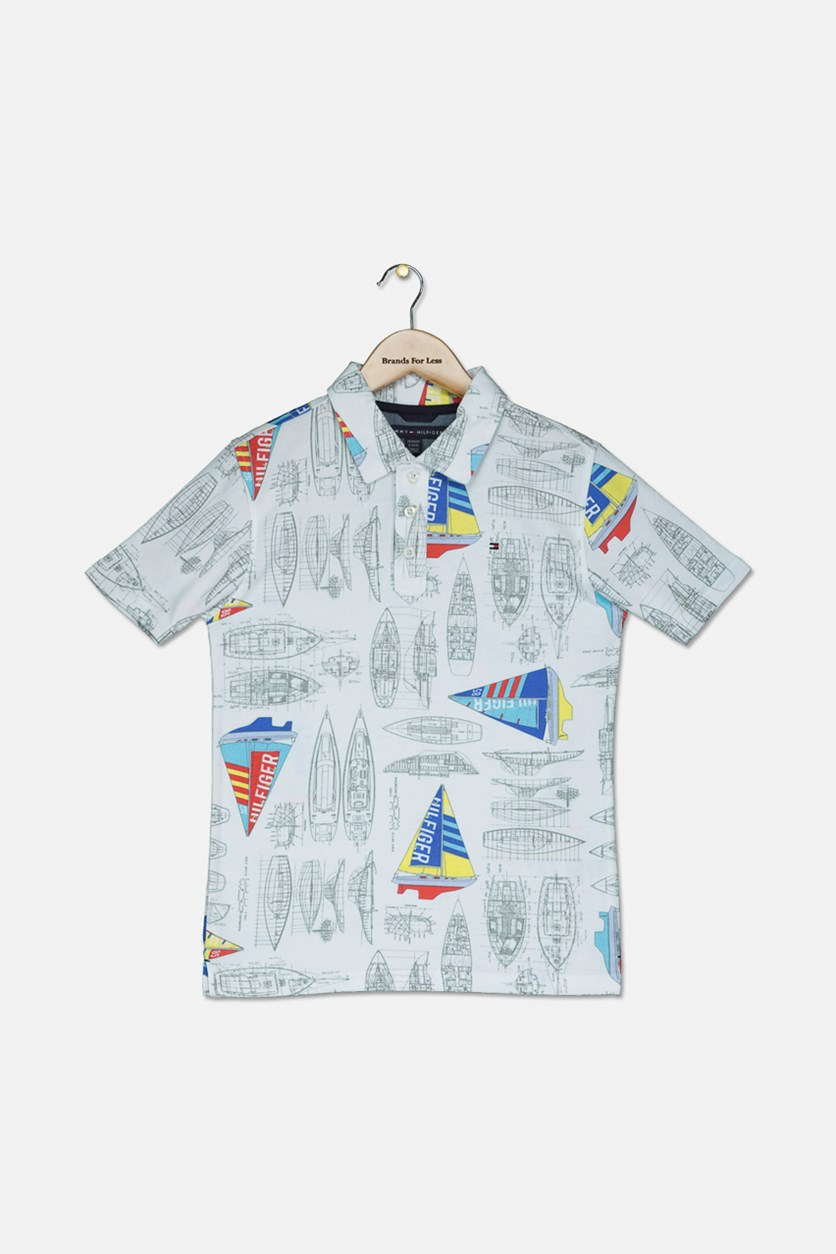 Kid's Boys Sailboat Polo, White Combo