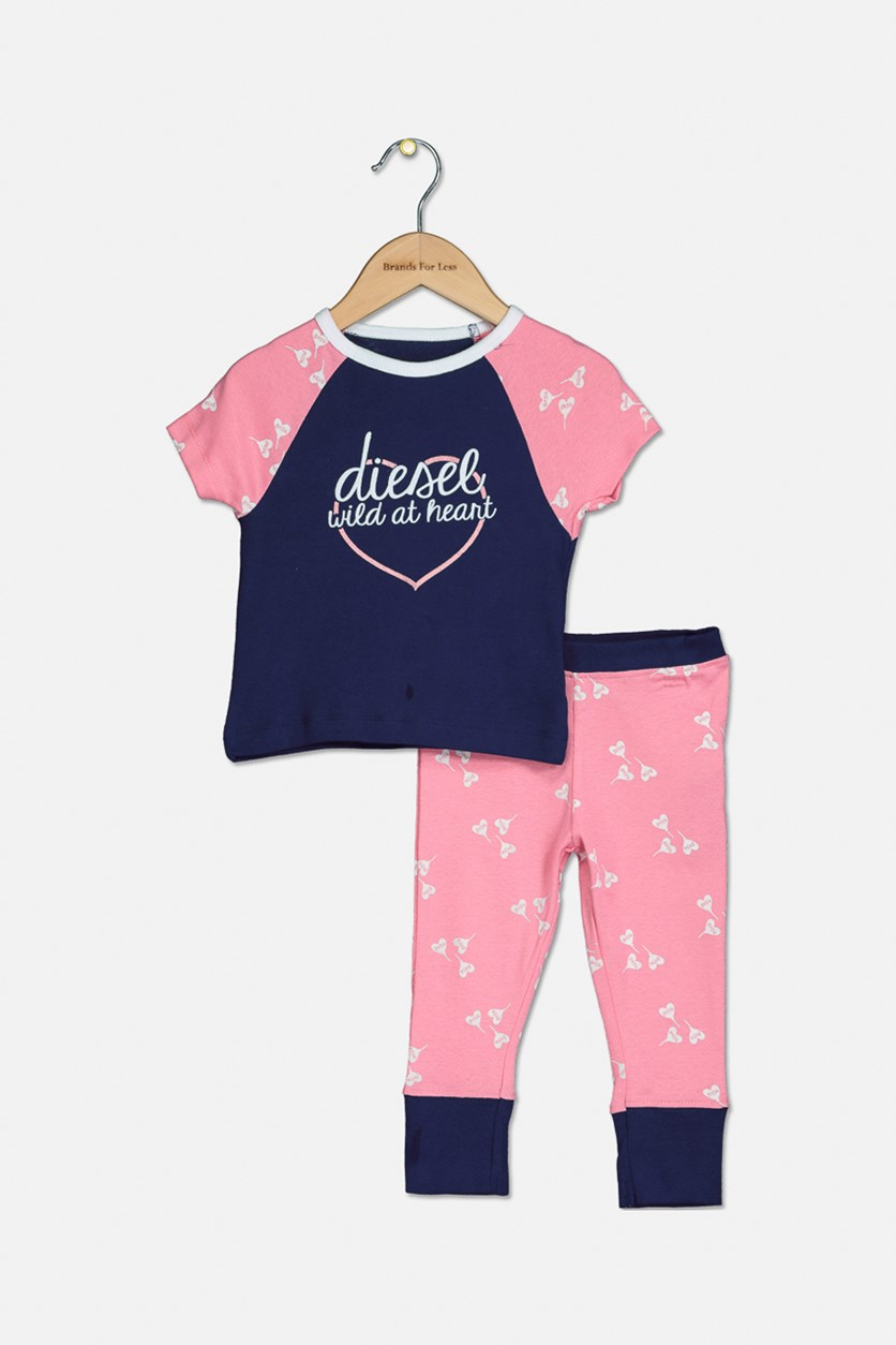 Toddlers Girls's Printed T-Shirt and Pant Sleepwear Set, Navy/Pink
