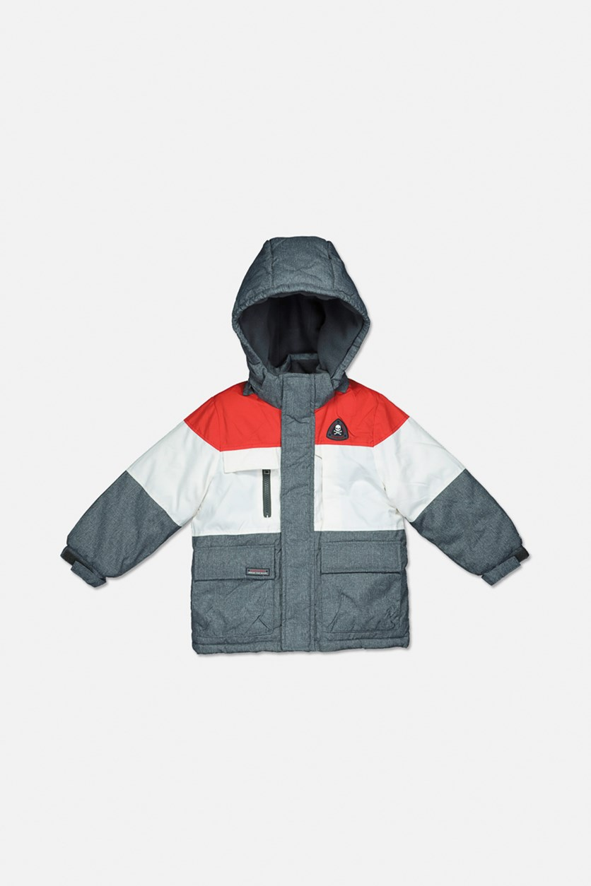 Toddler Boy's Hooded Long Sleeves Winter Jacket, Red Combo