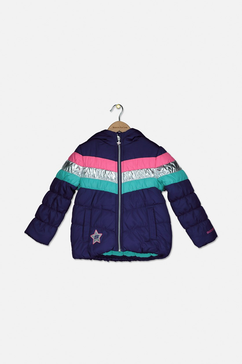 Girl's Hooded Winter Bubbles Jacket, Purple Combo