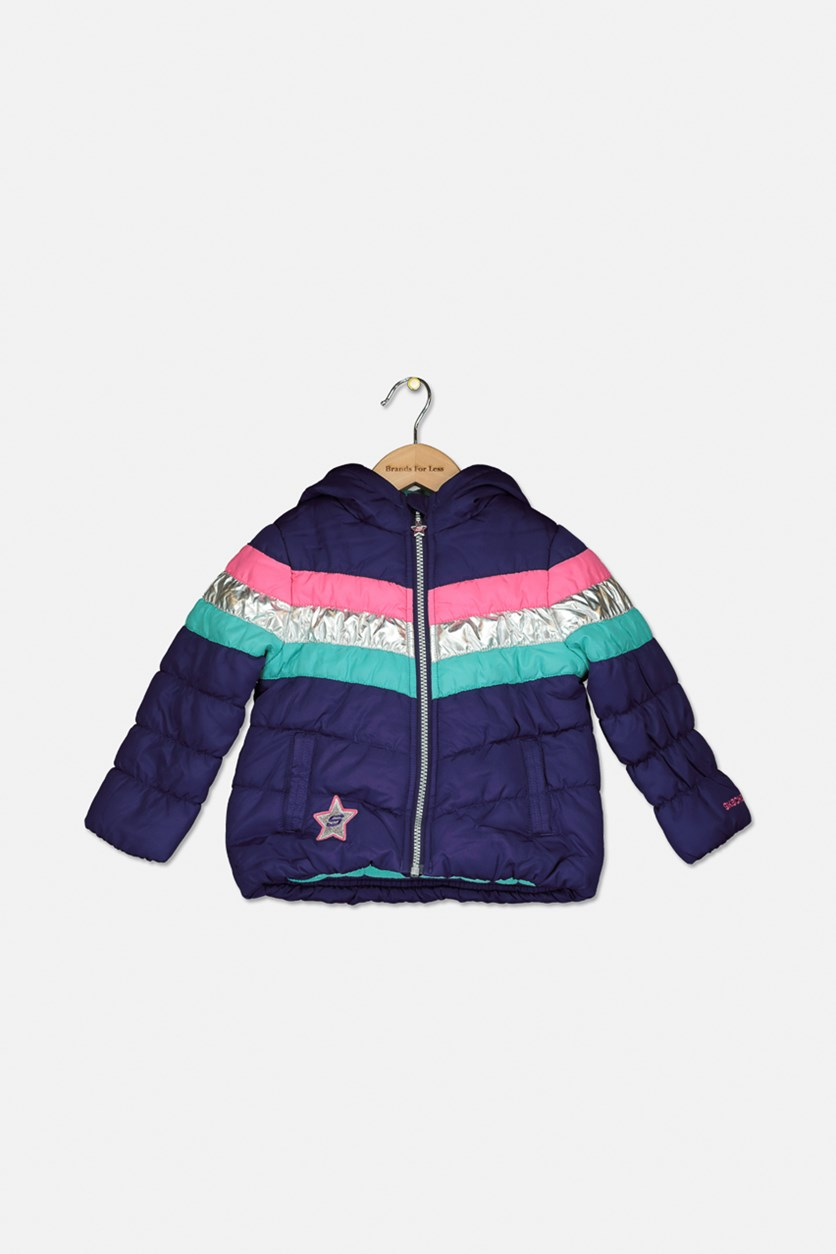 Toddler Girls Puffer Jacket, Purple Combo