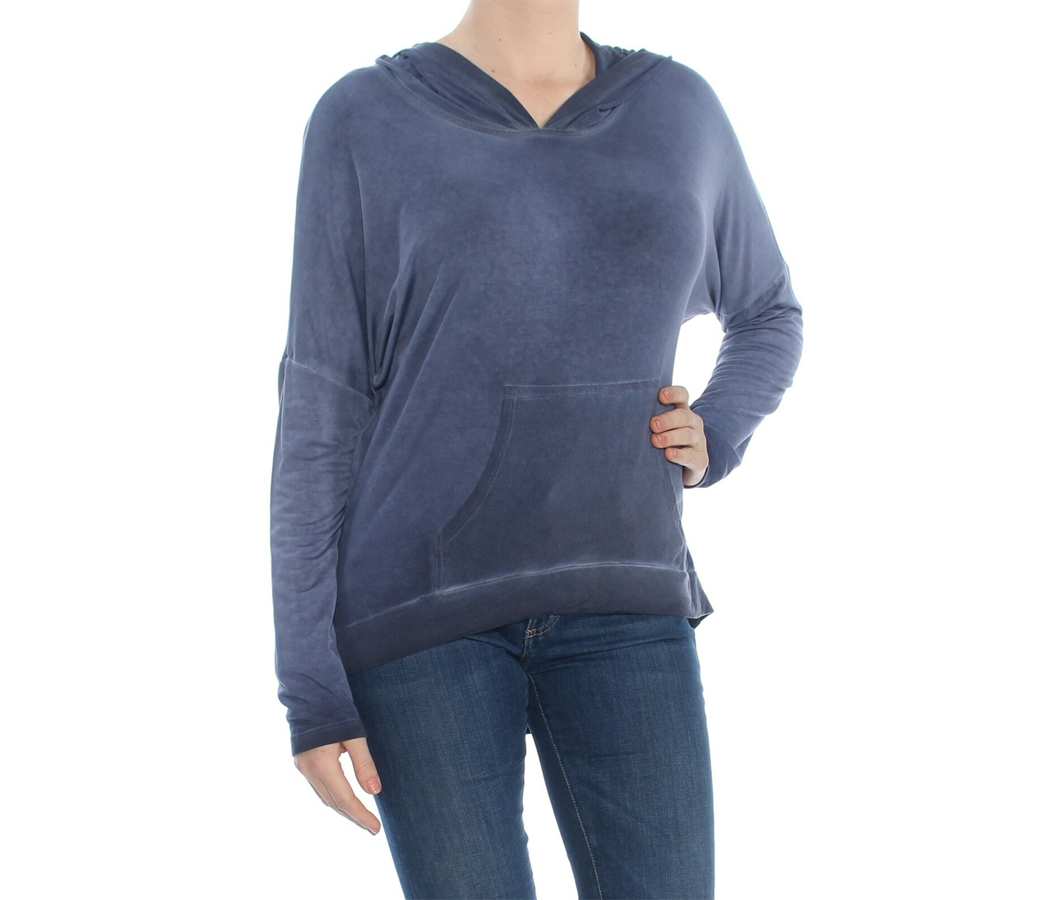 Karen Kane Women's Hooded Long Sleeve Top, Navy