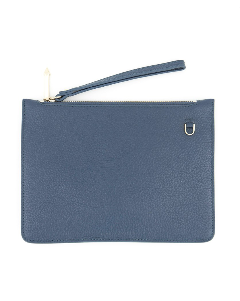 Women's Leather Pouch, Navy Blue