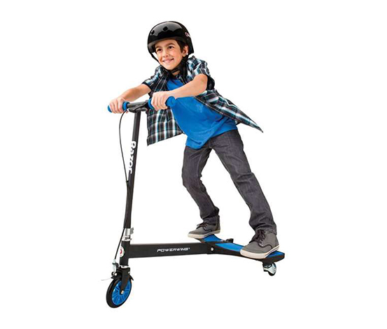 Razor PowerWing 3 Wheel Dual Inclined Caster Powered Side to Side Scooter, Blue