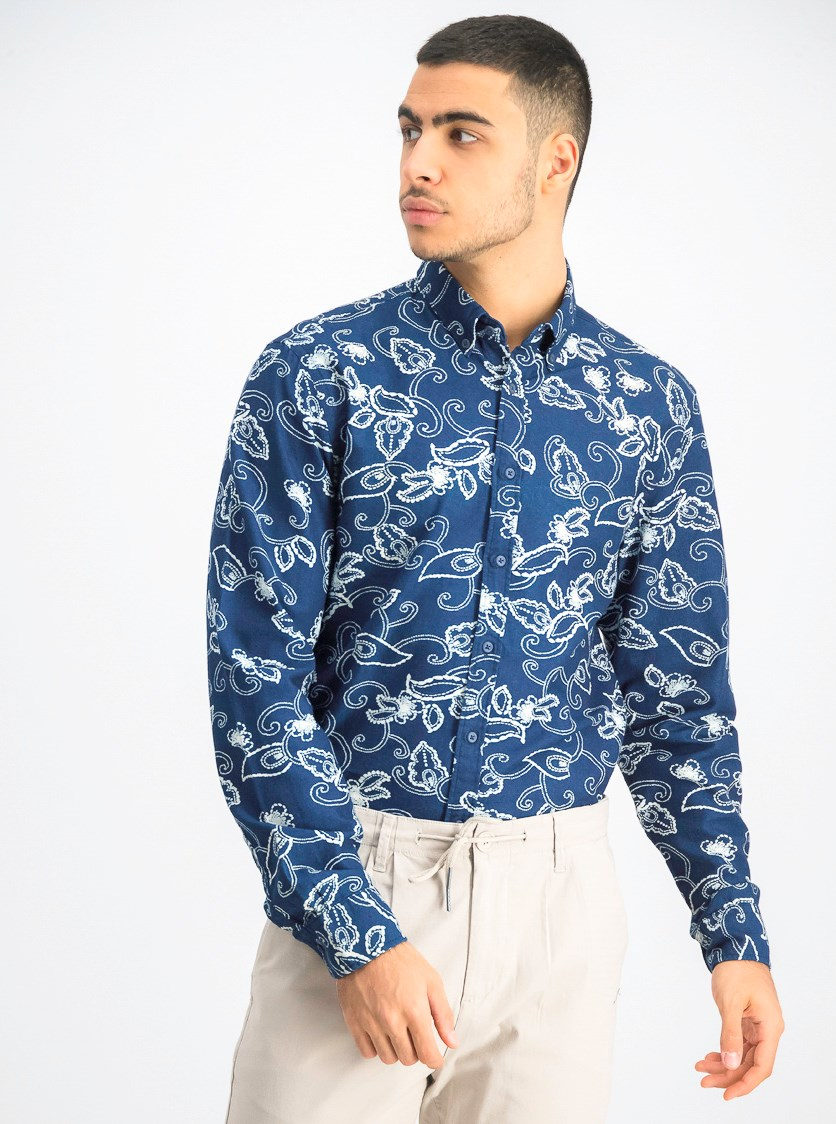 Men's  Paisley Printed Shirt, Navy