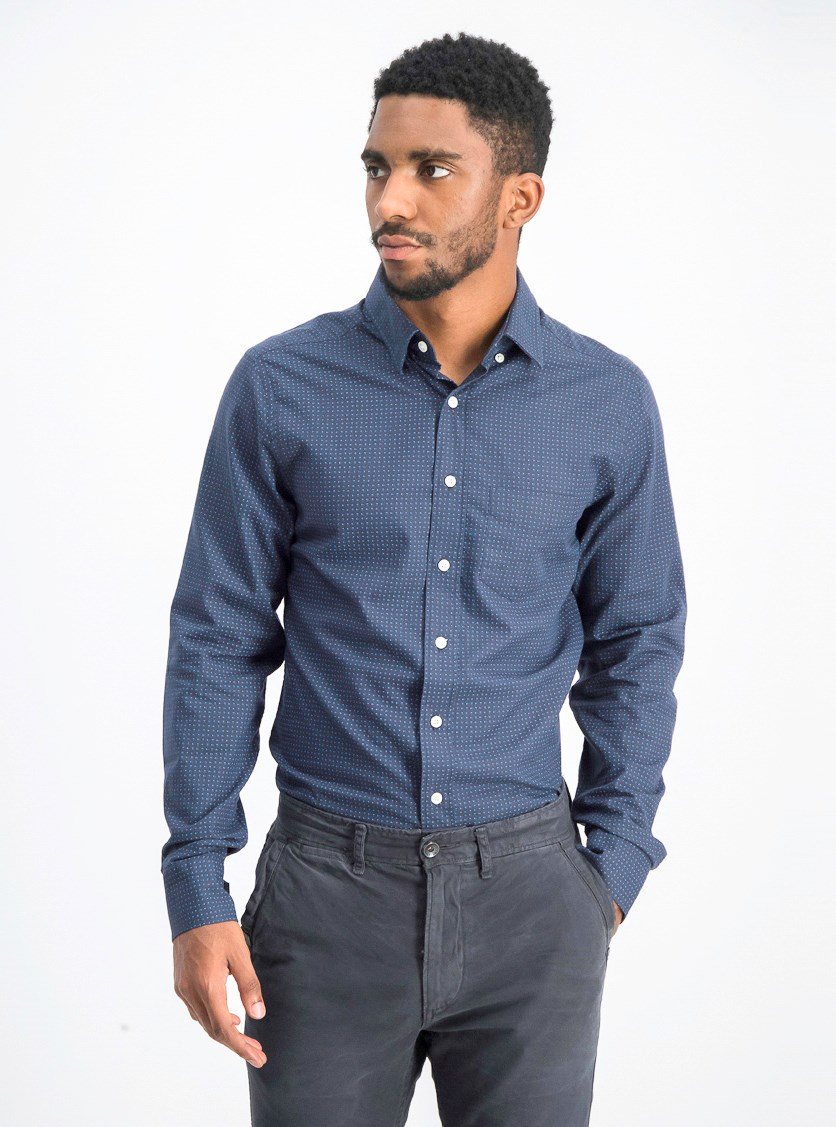 Men's Printed Casual Shirt, Teal Blue