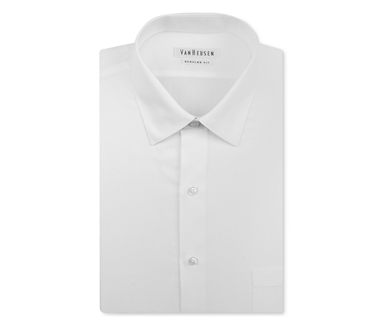 Men's Big and Tall Solid Herringbone Dress Shirt, White