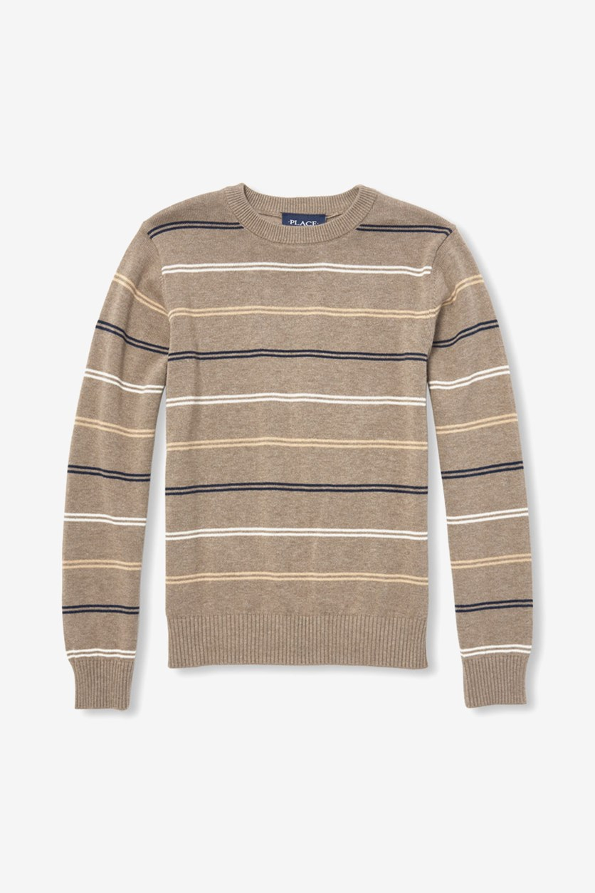 Boys Long Sleeve Striped Sweater, Feather