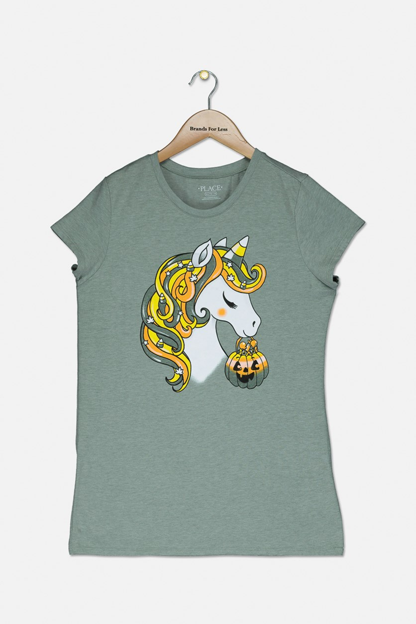 Kids' Girls Glittered Pumpkin-Unicorn Head Tee, Olive