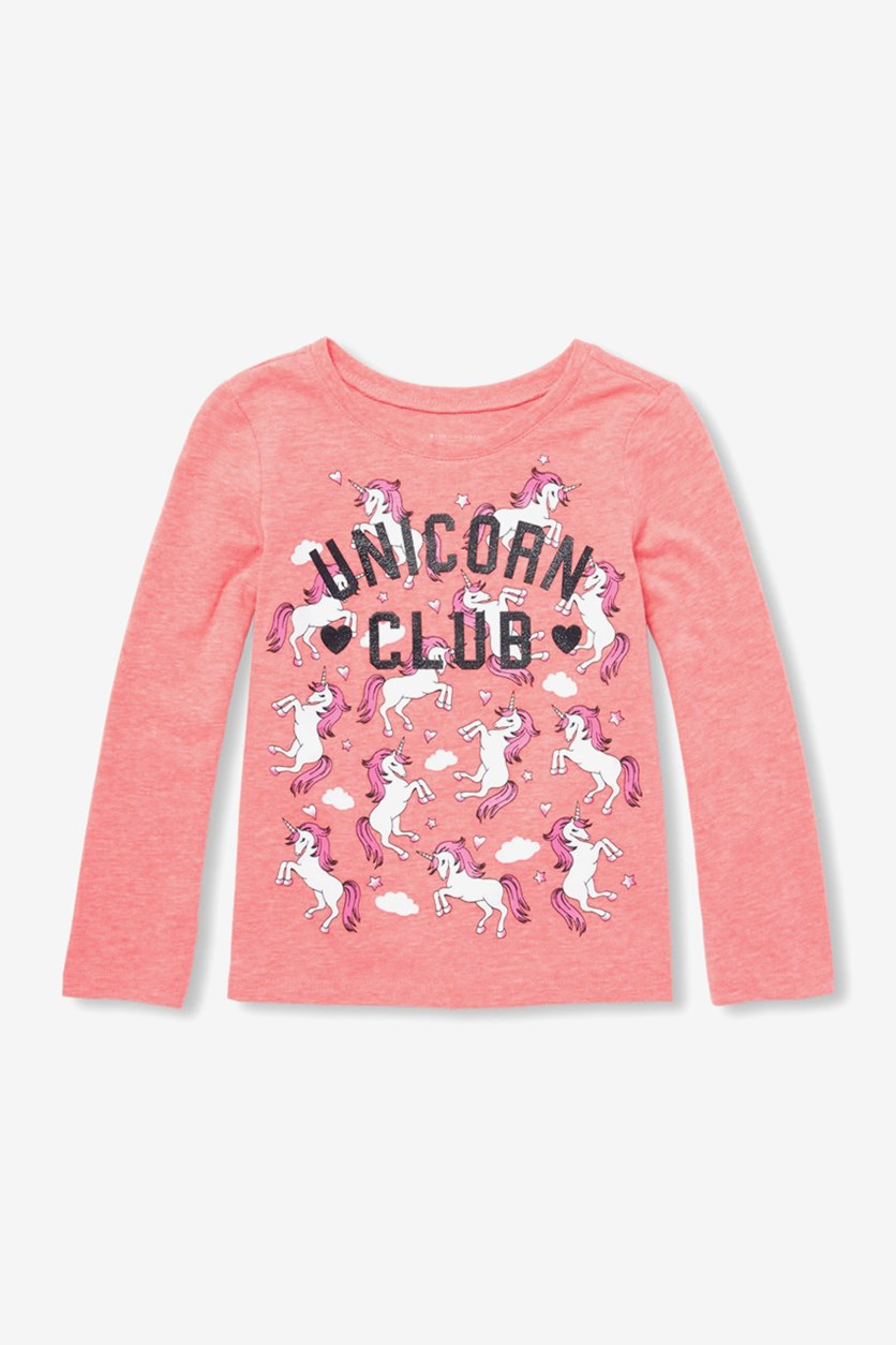 Toddler's Girls Graphic Long Sleeve Top, Carnation