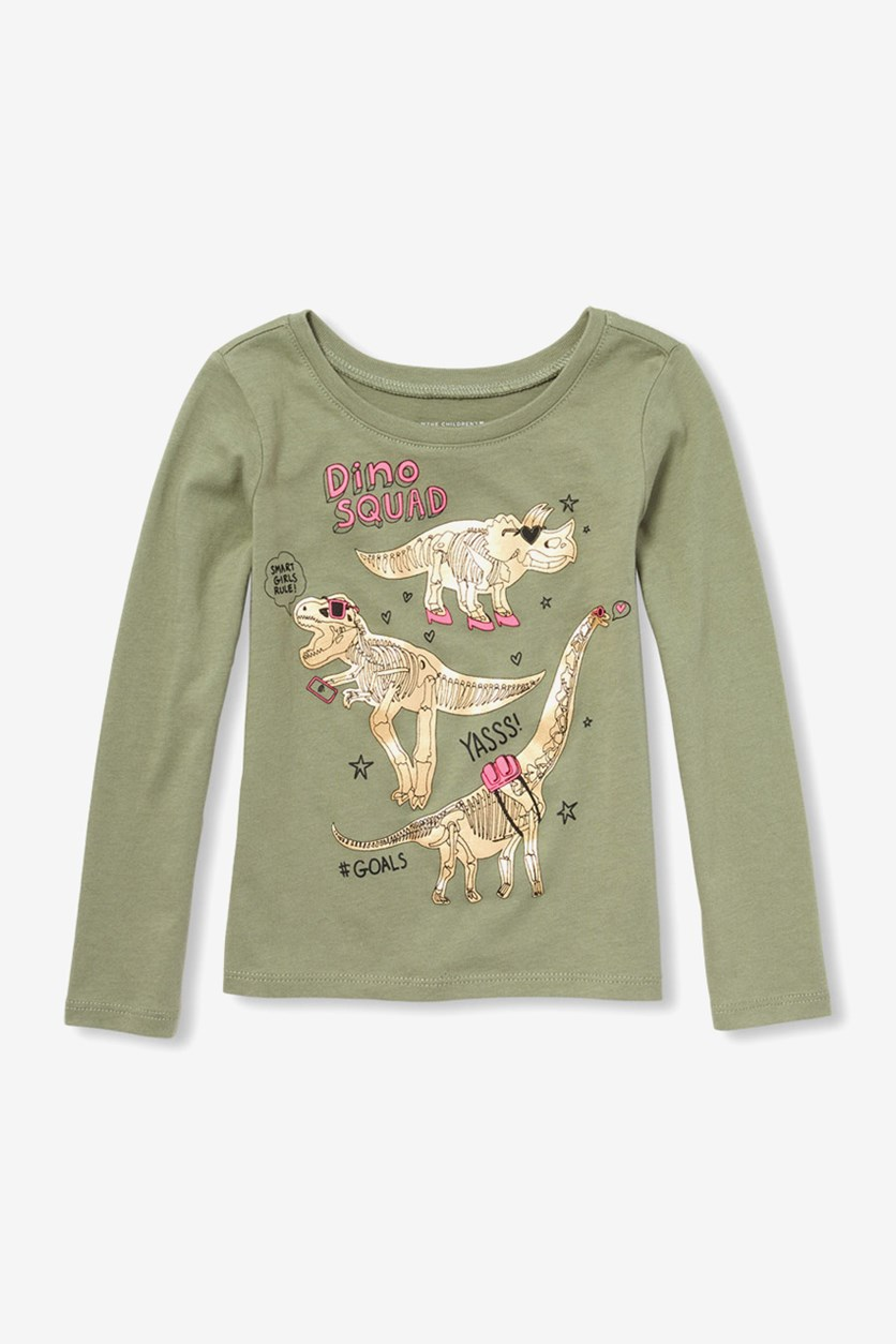 Girl's Long Sleeve Printed Tops, Olive Press