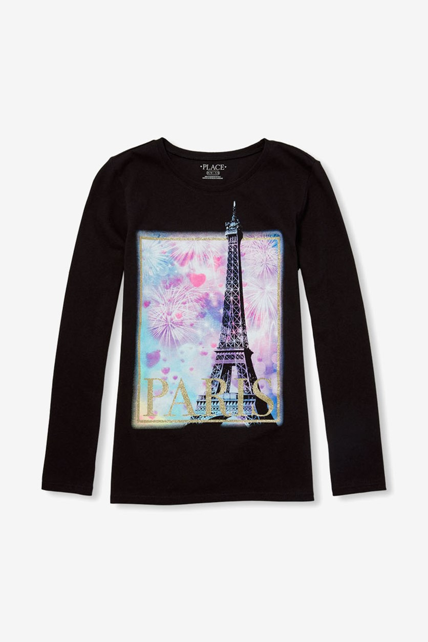 Kids Paris Print Tops, Black
