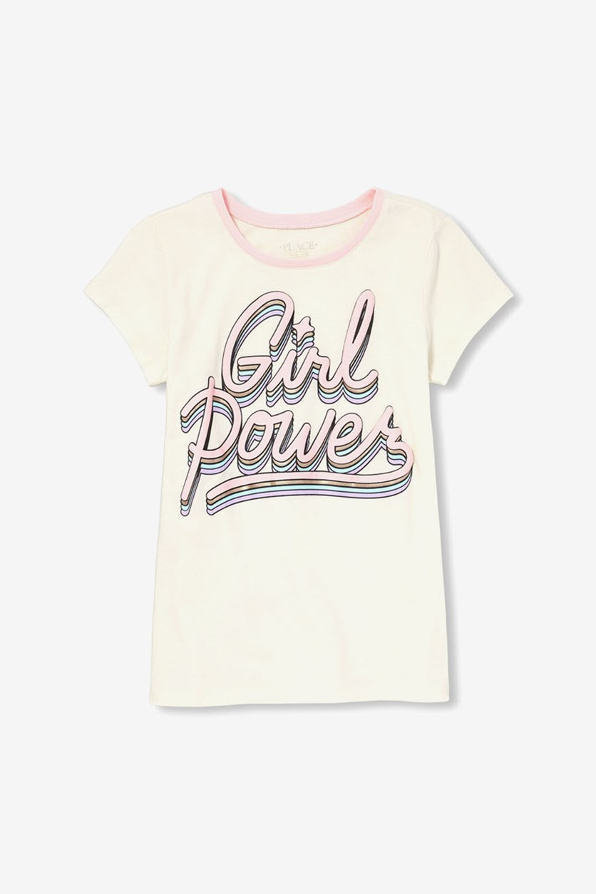 Girl's Graphic Print Top, Pearly Whites