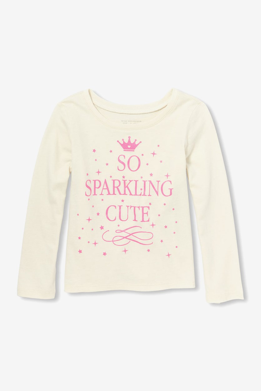 Toddler Long Sleeve Glitter, Pearly White