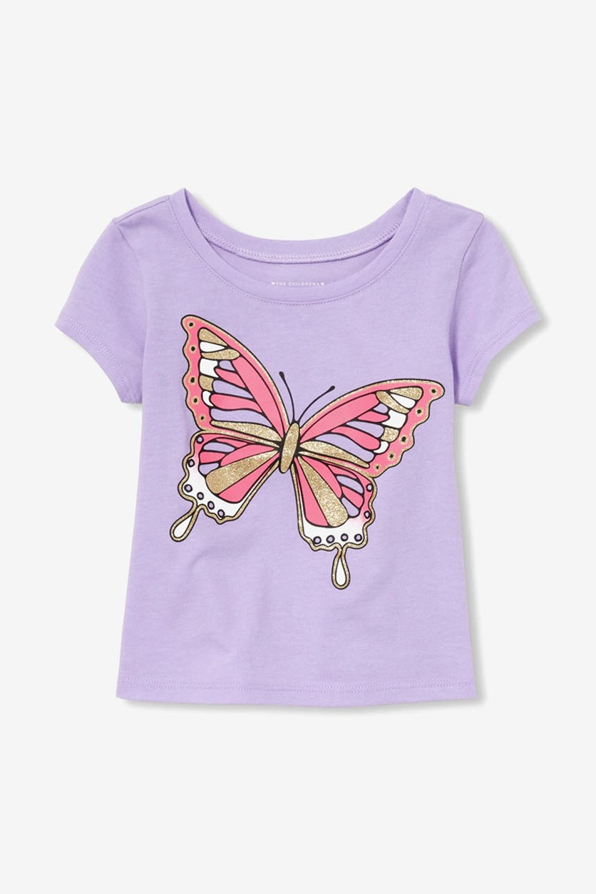 Toddler's Butterfly Print Tee, Noble Violet