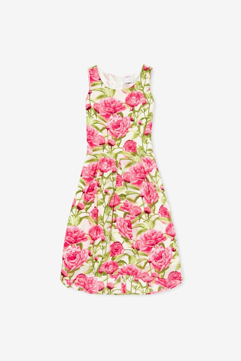 Kids Girls Floral Dress, Pink/Green