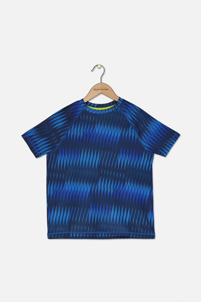 Boy's Active Tee, Blue/Black