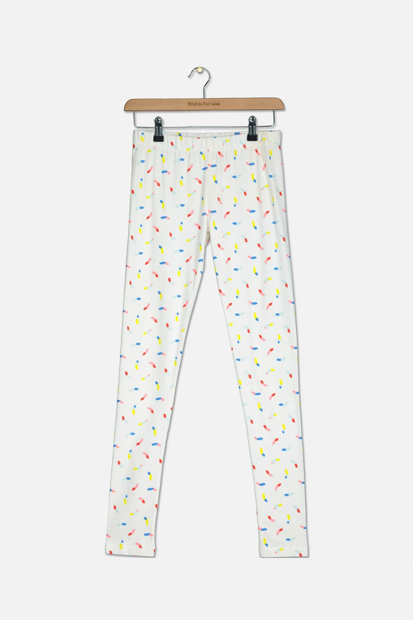 Kids Girls Printed Leggings, Ivory