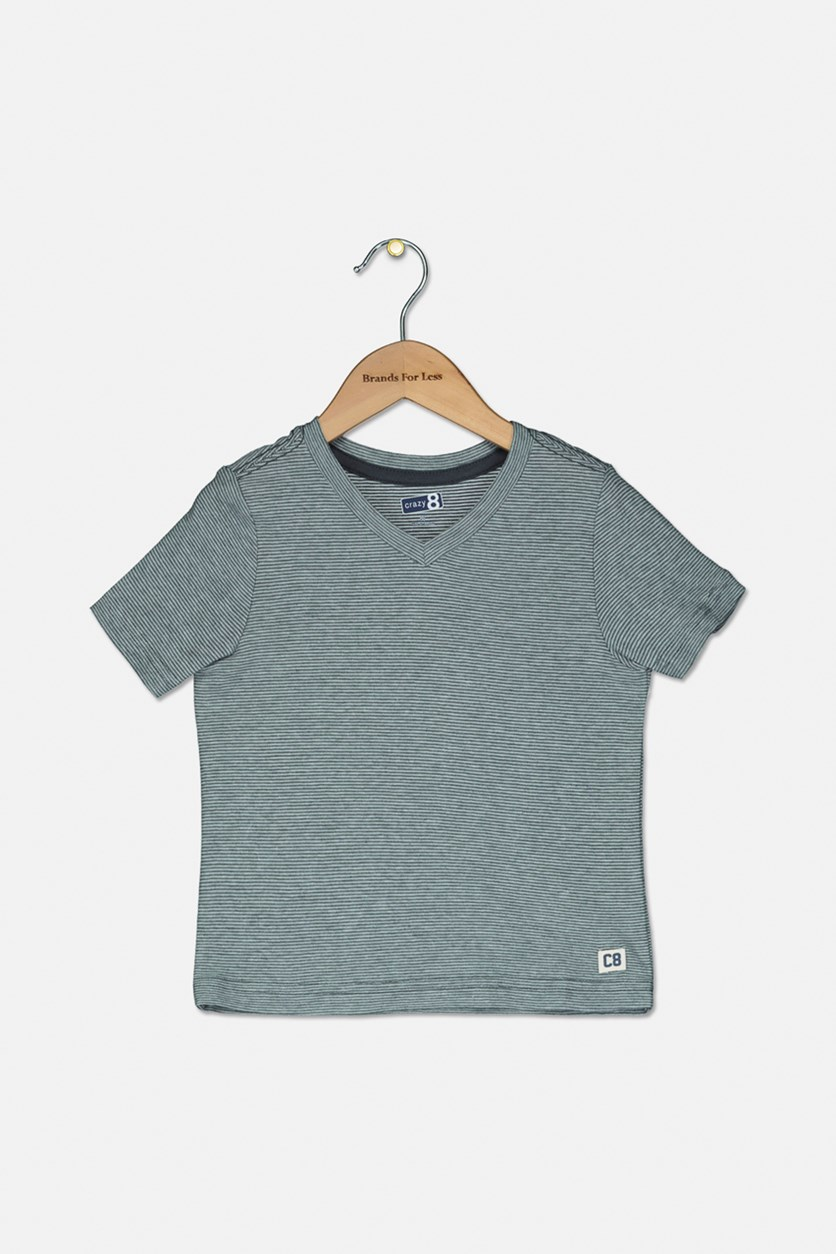 Toddlers Boys V-Neck Stripe T-Shirt, Charcoal