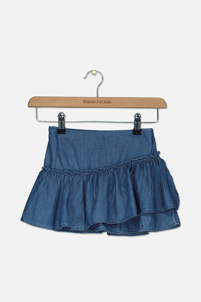 Little Girls Layered Skirt, Wash Denim