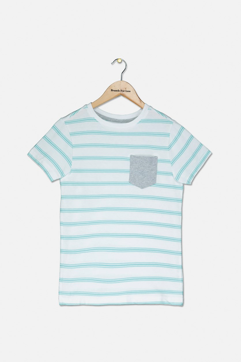 Kids Boys Stripe T-Shirt, White/Green