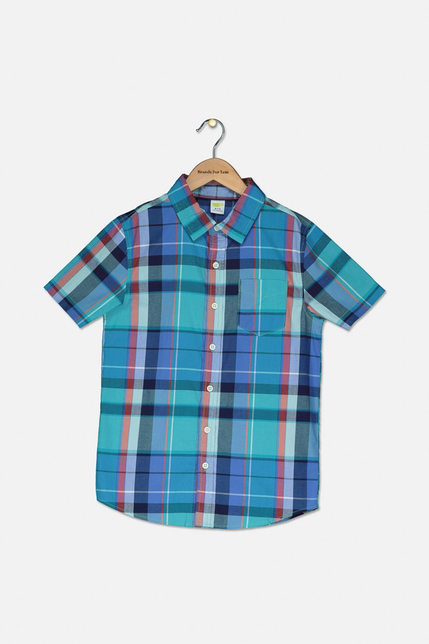 Kids Boys Spring Plaid Shirt, Blue Combo