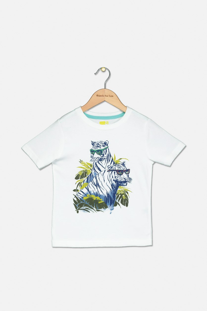 Little Boys Graphic Tops, White