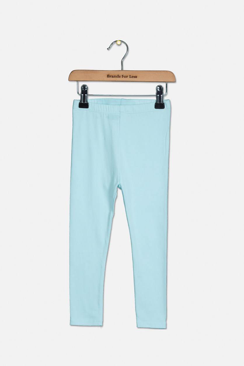 Girls Plain Leggings, Mint Blue