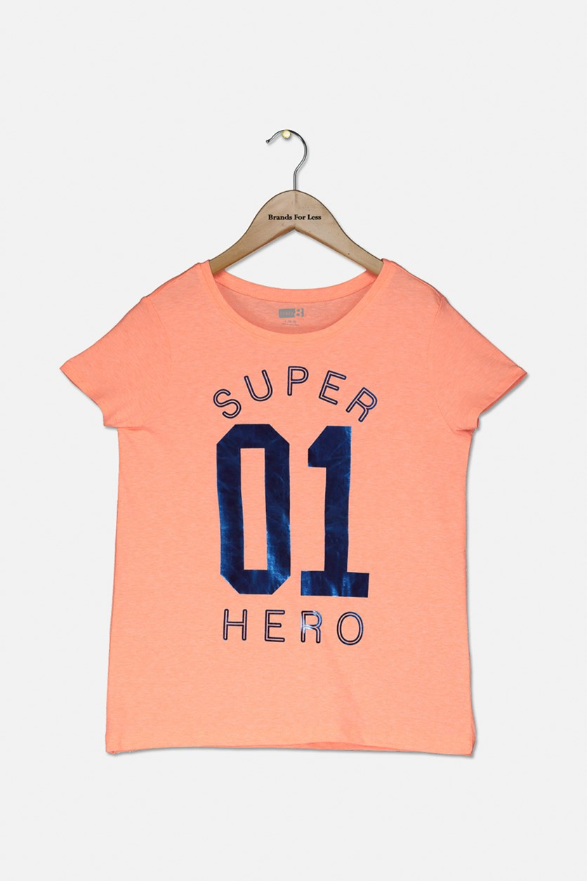 Kids Girls Graphic Tops, Neon Orange
