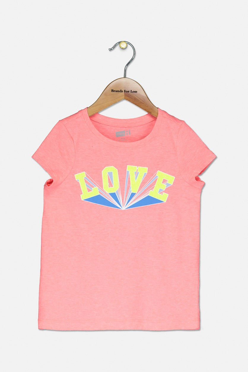 Big Girl's Love Graphic Tee, Bright Pink