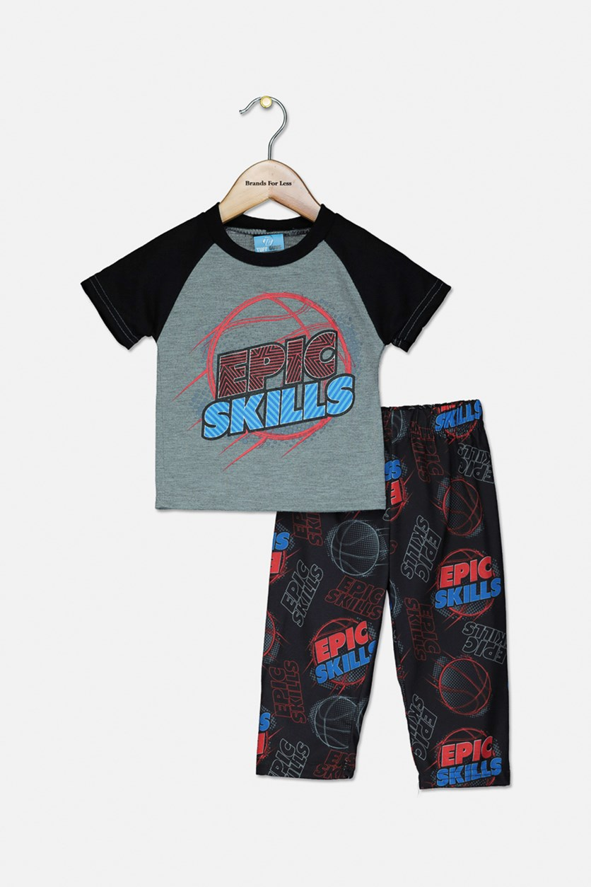 Baby Boys Graphic Print Pajama Pants Set, Grey/Black
