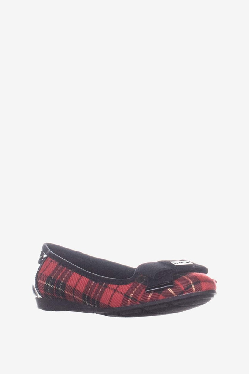 Womens Alivia 2 Faux Leather Plaid Ballet Flats, Red/Black