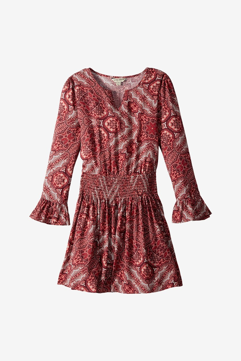 Girls Sasha Dress, Maroon/Peach
