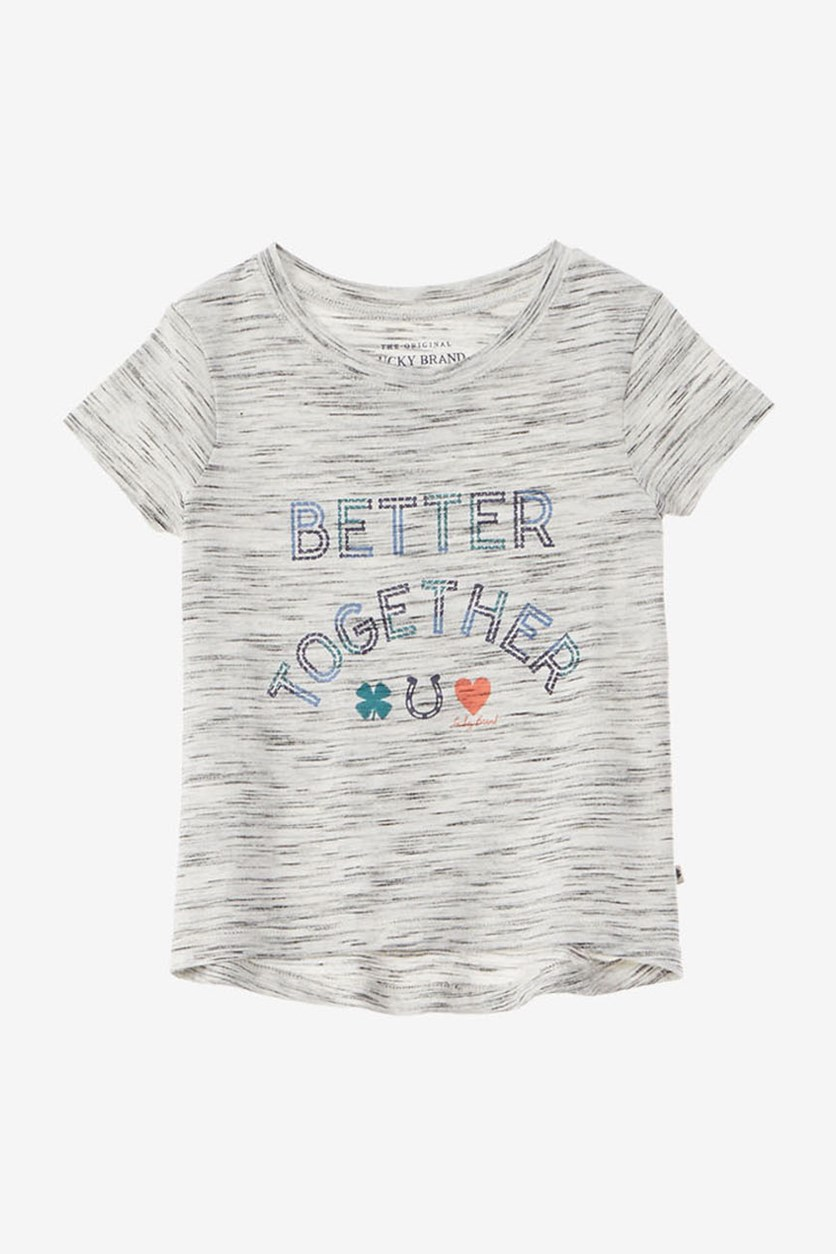 Girls Graphic T-Shirt, Grey Stone Heather