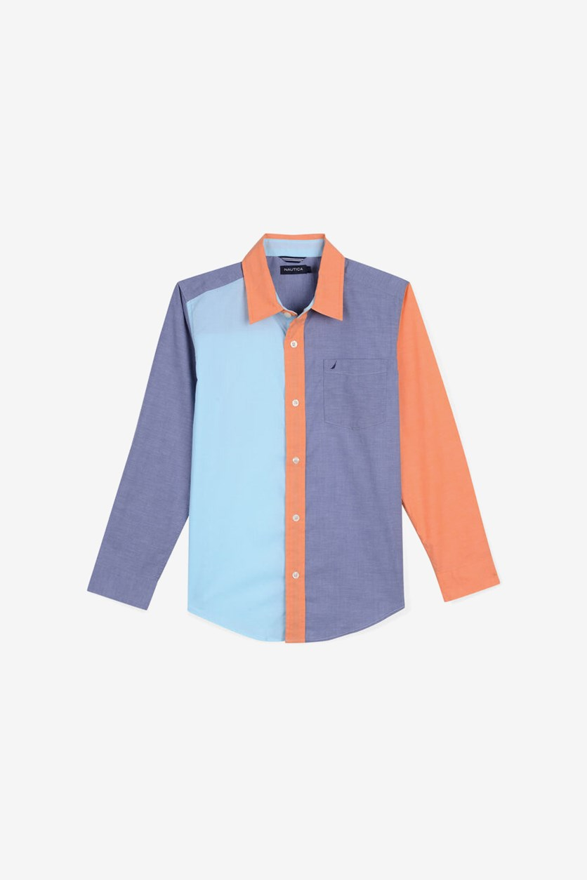 Boy's Long Sleeves Casual Shirt, Grey Combo